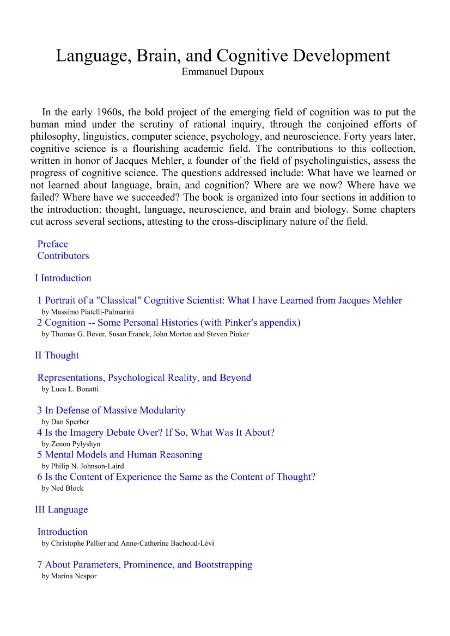 Language Brain And Cognitive Development