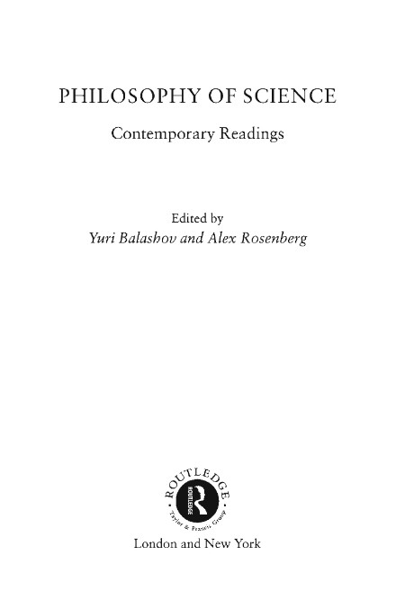 Philosophy Of Science Contemporary Readings In Philosophy