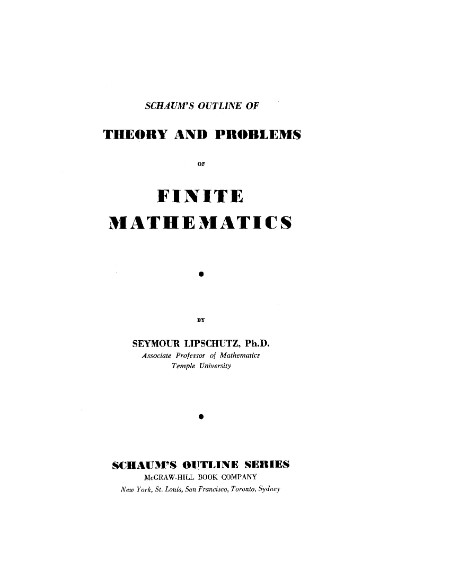 Theory And Problems Of Finite Mathematics Schaums Outlines [ENG]
