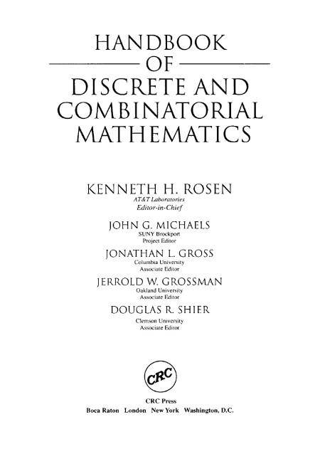 Handbook Of Discrete And Combinatorial Mathematics