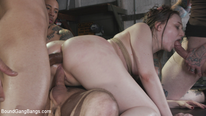 BoundGangBangs.com/Kink.com: Gwen Vicious, Tommy Pistol, Codey Steele, Donny Sins, Eddie Jaye, Johnny Goodluck - Filthy whore Gwen Vicious gets her slutty trash holes stuffed airtight [540p 540p] (729 MB) - April 1, 2020